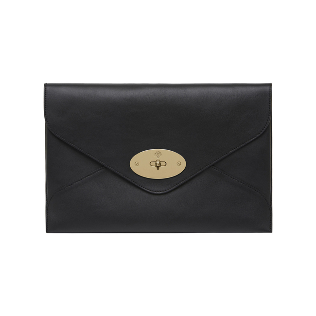 Mulberry Willow Clutch Black Silky Classic Calf With Soft Gold