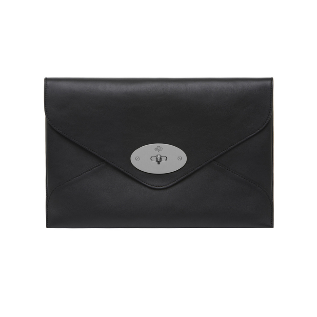 Mulberry Willow Clutch Black Silky Classic Calf With Nickel