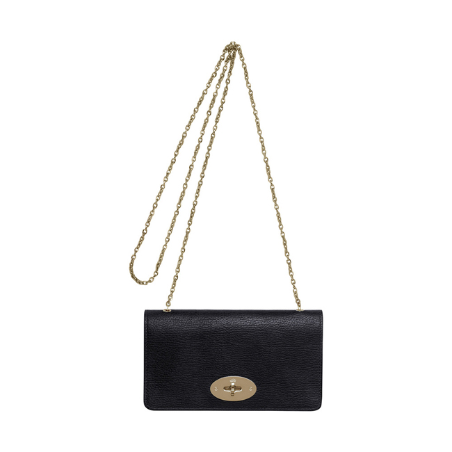 Mulberry Bayswater Clutch Wallet Black Grainy Print With Soft Gold
