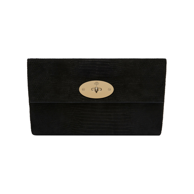 Mulberry Oversized Clemmie Clutch Black Reptile Print Suede