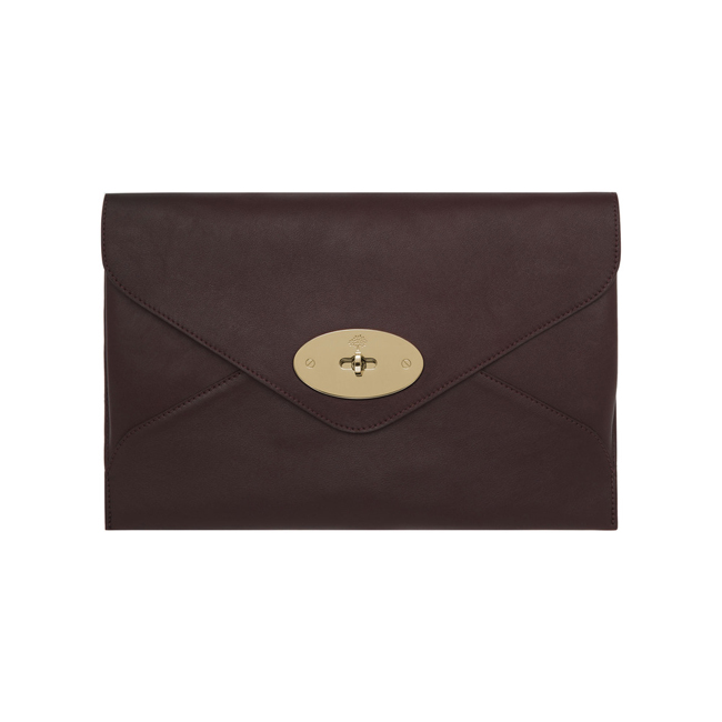 Mulberry Willow Clutch Oxblood Silky Classic Calf with Soft Gold