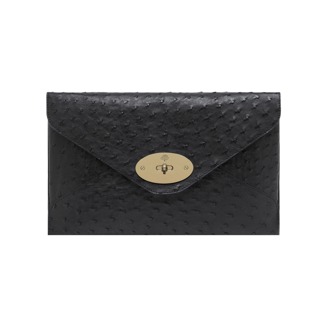 Mulberry Willow Clutch Black Ostrich