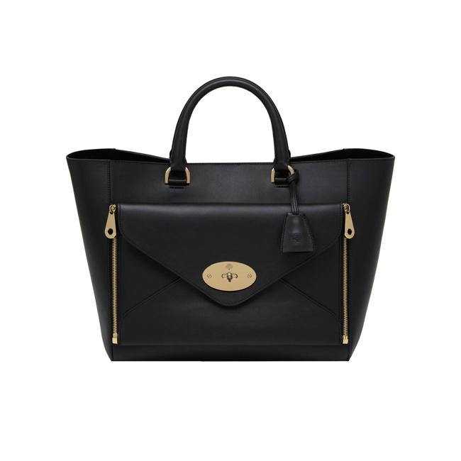 Mulberry Willow Tote Black Silky Classic Calf With Soft Gold