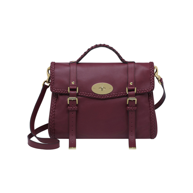 Mulberry Oversized Alexa with Woven Trim Berry Small Grain Calf Nappa