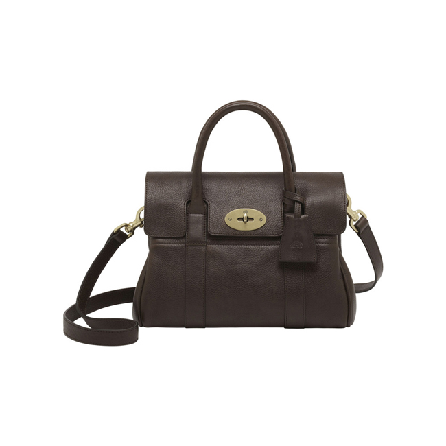 Mulberry Small Bayswater Satchel Chocolate Natural Leather