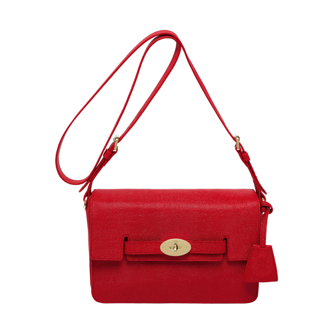 Mulberry Bayswater Shoulder Bright Red Textured Lizard Print