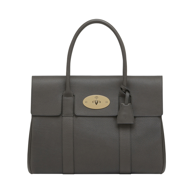 Mulberry Bayswater Mole Grey Grainy Calf