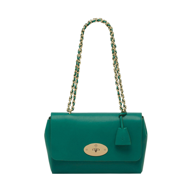 Mulberry Medium Lily Emerald Micrograin Calf