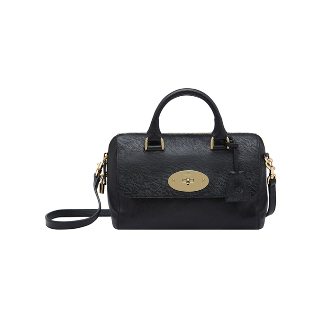 Mulberry Small Del Rey Black Grainy Print With Soft Gold