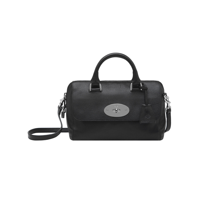 Mulberry Small Del Rey Black Grainy Print Leather With Nickel