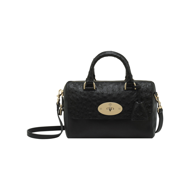Mulberry Small Del Rey Black Classic Calf & Ostrich Mix