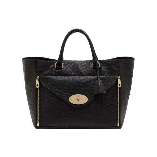 Mulberry Willow Tote Black Ostrich With Soft Gold