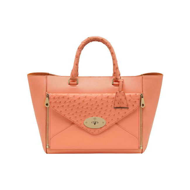 Mulberry Willow Tote Bright Apricot Classic Calf & Ostrich Mix