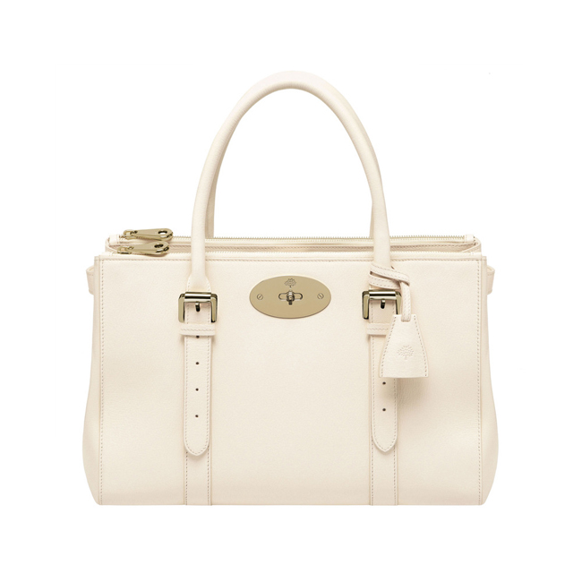Mulberry Bayswater Double Zip Tote Off White Shiny Goat