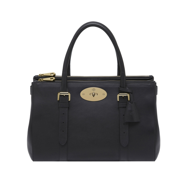Mulberry Bayswater Double Zip Tote Black Silky Classic Calf