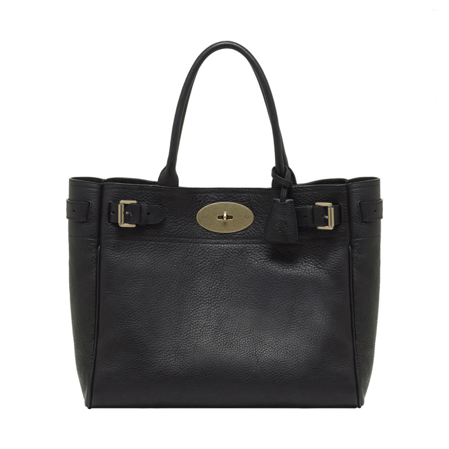 Mulberry Bayswater Tote Black Natural Leather