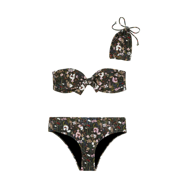Mulberry Hanky Bandeau Bikini Black Mini Meadow