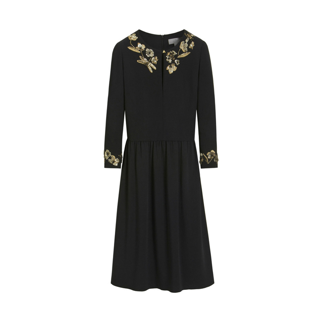 Mulberry Embroidered Column Dress Black Triple Georgette