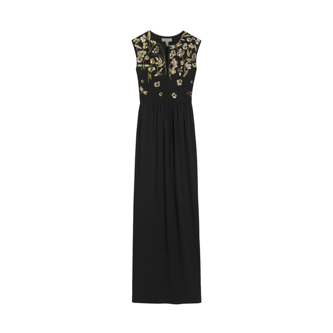 Mulberry Long Column Dress Black Triple Georgette