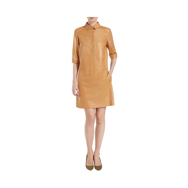 Mulberry Shirt Dress Biscuit Brown Soft Nappa