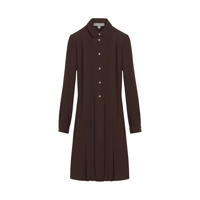 Mulberry Pleated Dress Oxblood Triple Georgette