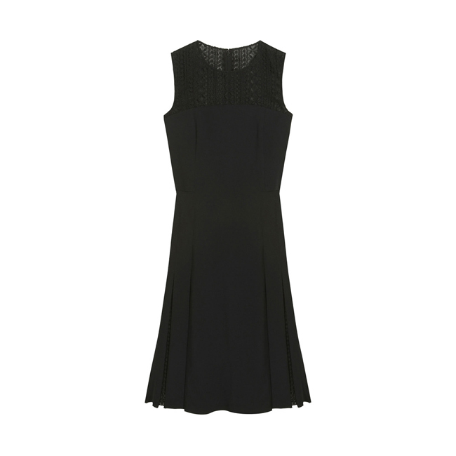 Mulberry Side Pleat Dress Black Triple Georgette