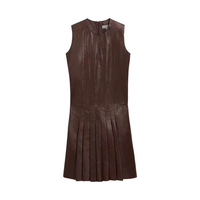 Mulberry Sleeveless Pleated Dress Oxblood Nappa Leather