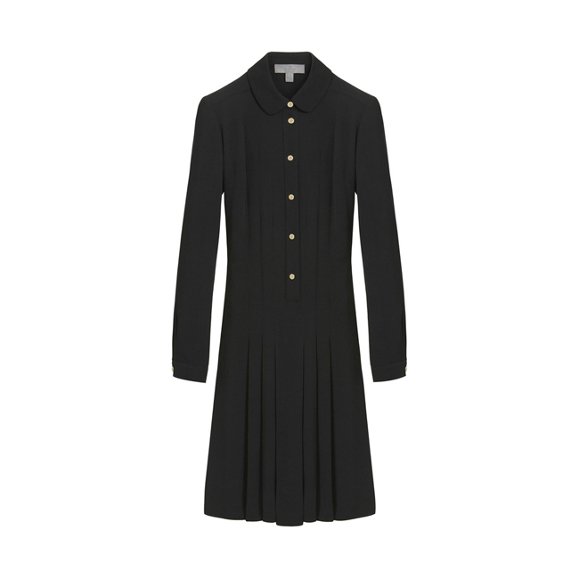 Mulberry Pleated Dress Black Triple Georgette