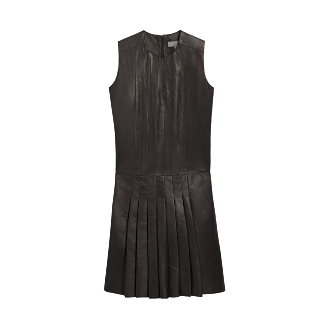 Mulberry Sleeveless Pleated Dress Black Nappa Leather