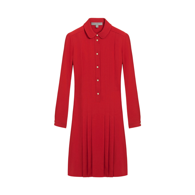 Mulberry Pleated Dress Bright Red Triple Georgette