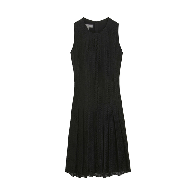 Mulberry Sleeveless Pleated Dress Black Lace