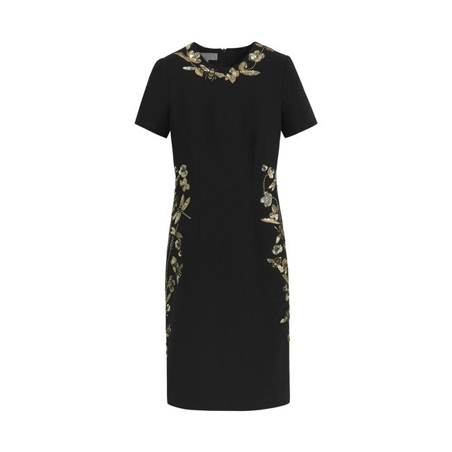 Mulberry Embroidered Dress Black Textured Stretch Wool