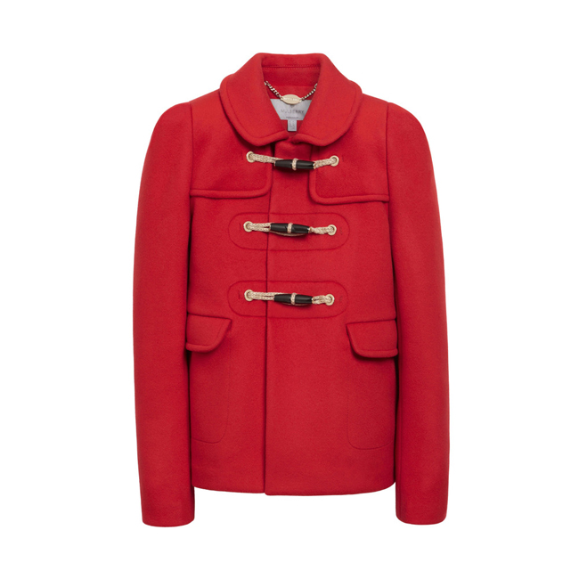 Mulberry Duffle Jacket Bright Red Double Faced Wool