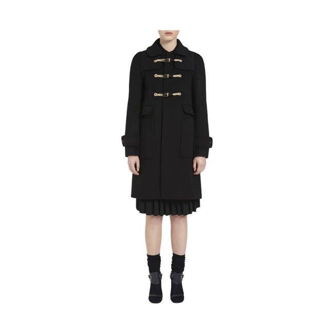 Mulberry Duffle Coat Black Double Faced Wool