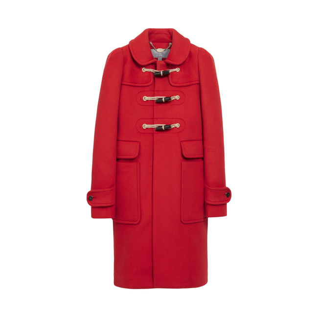 Mulberry Duffle Coat Bright Red Double Faced Wool