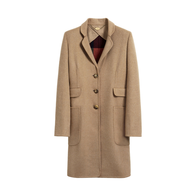 Mulberry Single Breasted Coat Camel Splittable Checked Wool