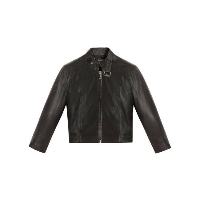 Mulberry Cropped Jacket Black Soft Nappa