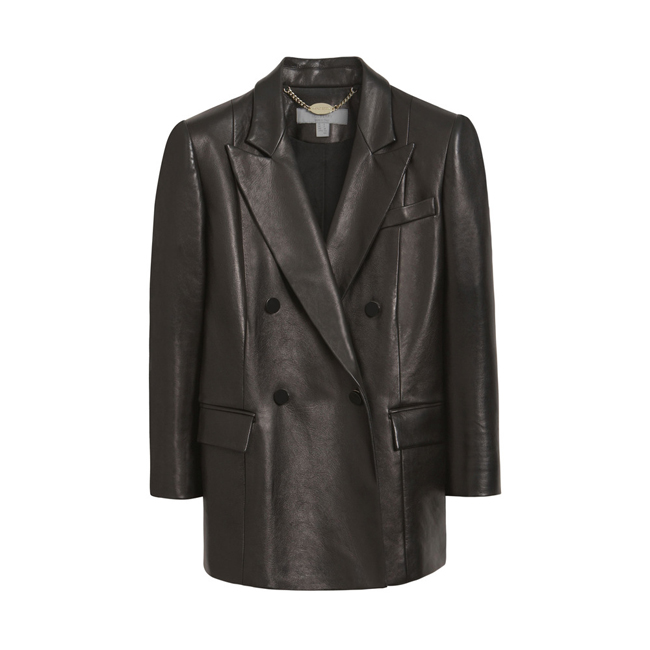 Mulberry Double Breasted Blazer Black Nappa Leather