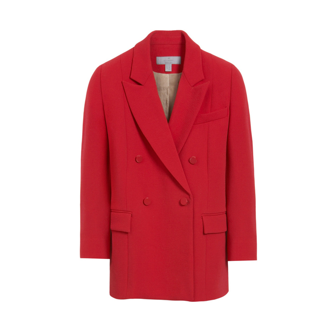 Mulberry Double Breasted Blazer Bright Red Textured Stretch Wool