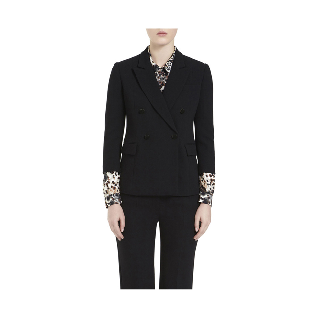 Mulberry Double Breasted Blazer Black Textured Stretch Wool