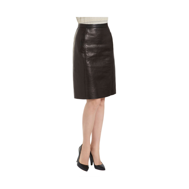 Mulberry Paneled Skirt Black Bonded Leather