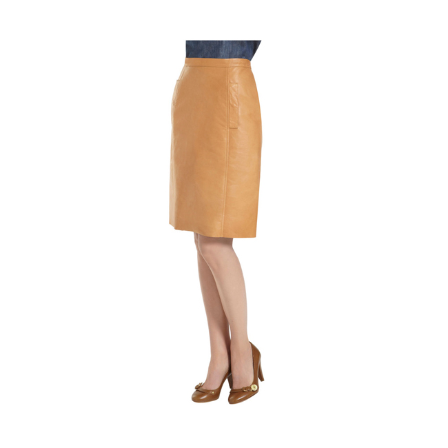 Mulberry Paneled Skirt Biscuit Brown Soft Nappa