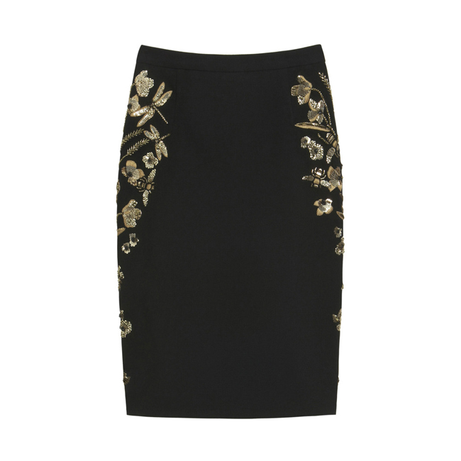 Mulberry Embroidered Classic Skirt Black Textured Stretch Wool