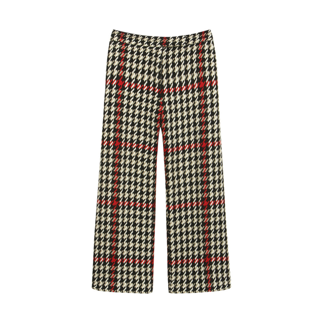 Mulberry Cropped Trouser Black Houndstooth Check
