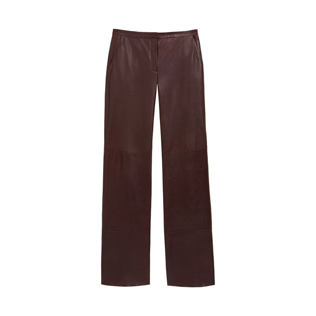 Mulberry Straight Leg Trouser Oxblood Nappa Leather