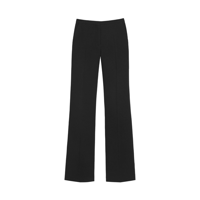 Mulberry Straight Leg Trouser Black Textured Stretch Wool