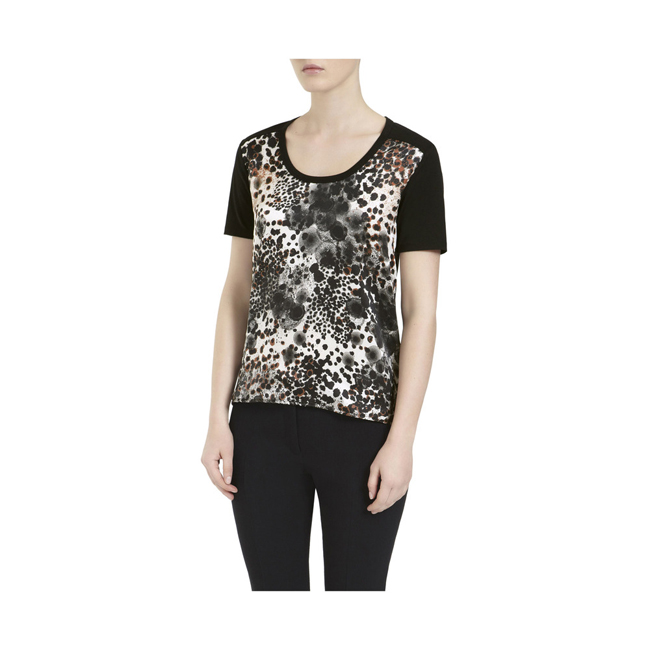 Mulberry Print Front T-Shirt Off White Inky Animal Cotton Jersey