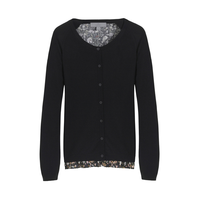 Mulberry Pleated Frill Cardigan Black Cashmere