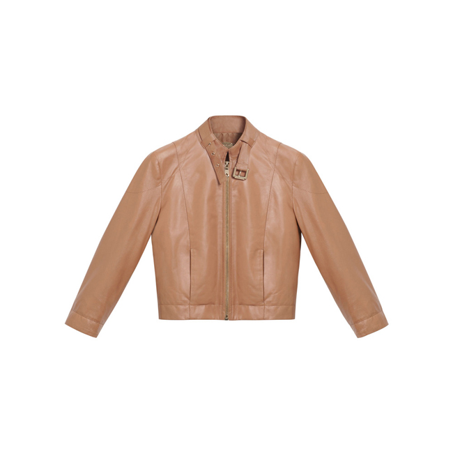 Mulberry Cropped Jacket Biscuit Brown Soft Nappa